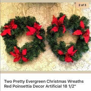 """2 Evergreen Christmas Wreaths Poinsettia 18 1/2"""""""